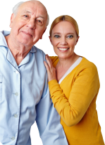 elderly with his caregiver